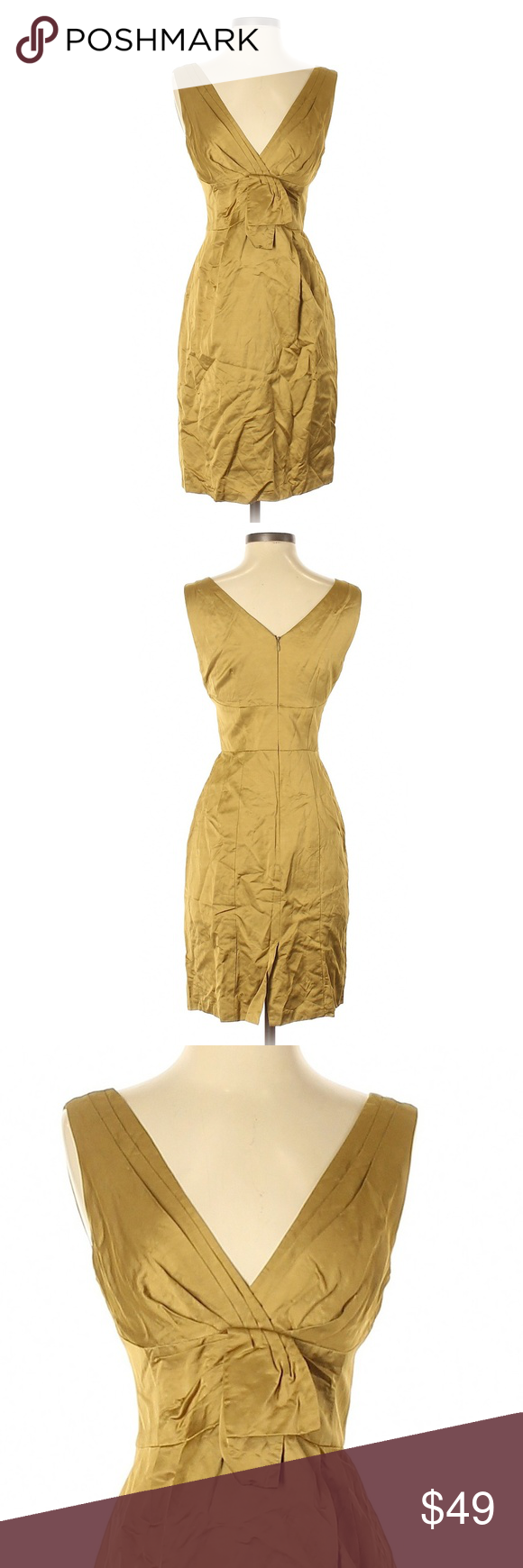 Nanette Lepore Greenish Golden Tan Cocktail Dress Nanette Lepore Dress Clothes Design Womens Dresses [ 1740 x 580 Pixel ]