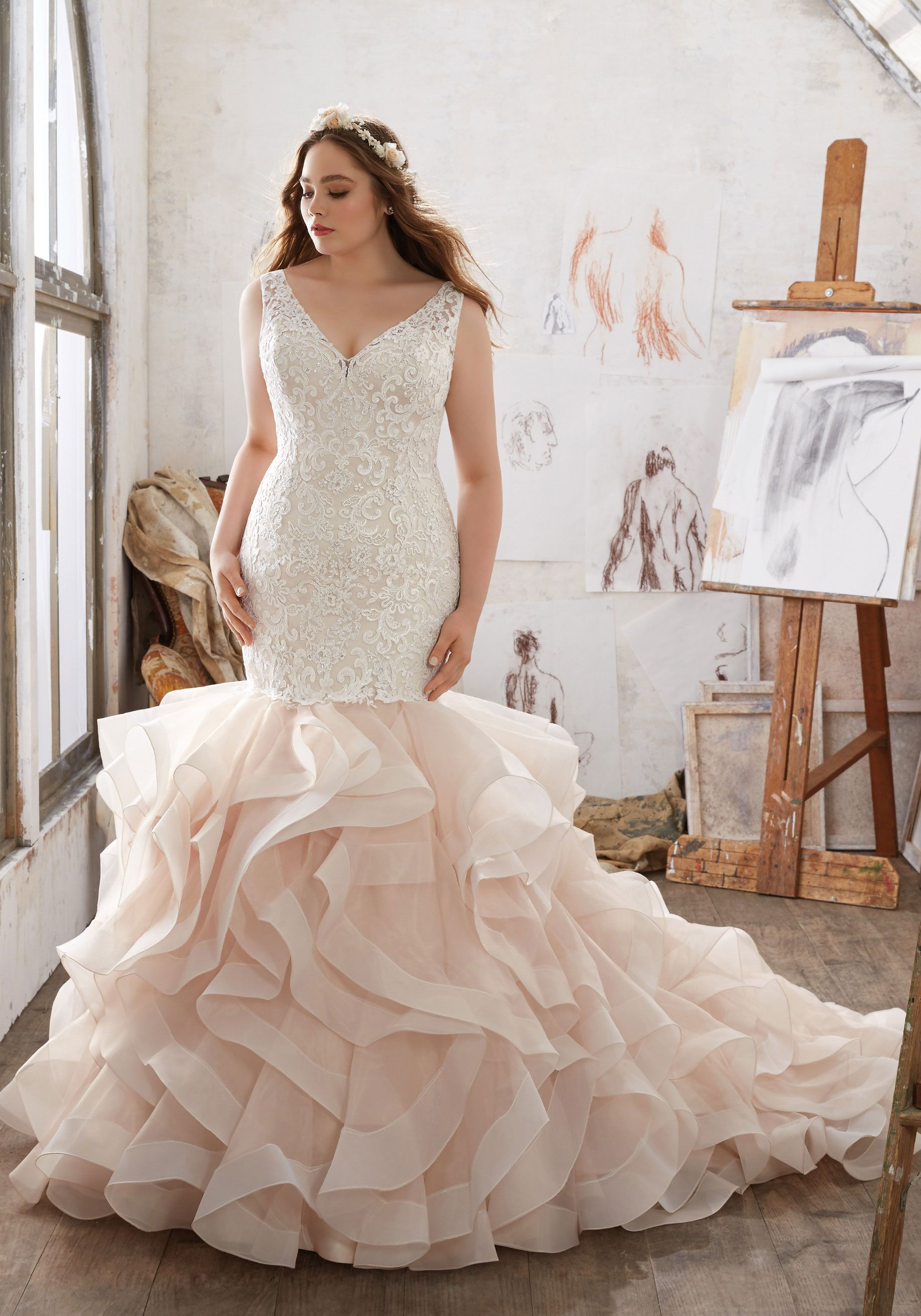 Julietta By Mori Lee Mildred 3216 Gown Features Frosted Alecon Lace Appliques And A Hors Wedding Dress Organza Plus Size Wedding Gowns Wedding Dress Styles