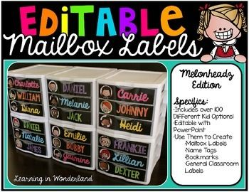 Name Tags Editable Mailbox Labels Sterilite Drawer Labels Classroom Decor Classroom Mailboxes 3rd Grade Classroom School Classroom