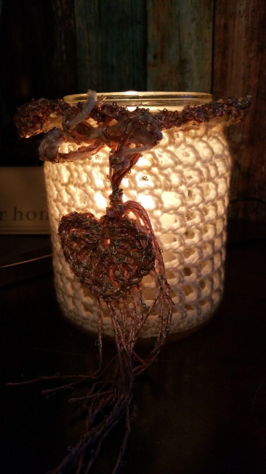 Einmachglas umhäkeln. Häkelanleitung in Deutsch. Grundkenntnisse erforderlich. #Inspiration #Kerze #Licht #häkeln