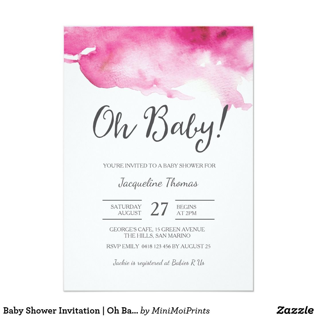 Baby Shower Invitation | Oh Baby Pink | Shower invitations