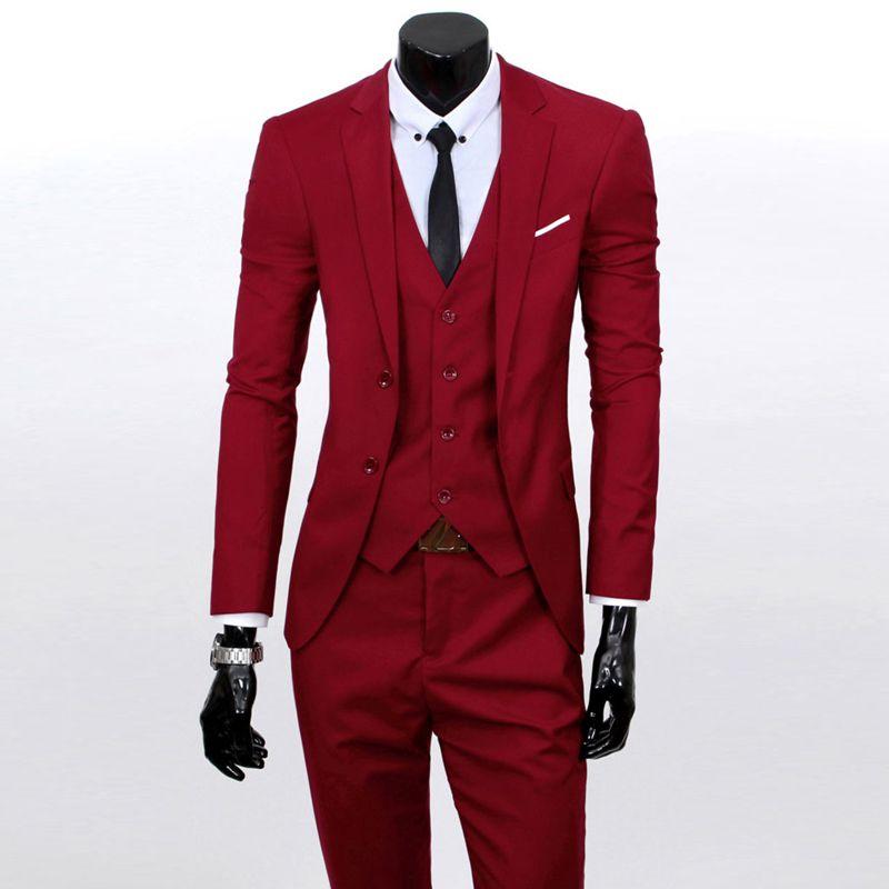 Vest+suit+pants) Men pure color high-grade brand fashion wedding ...