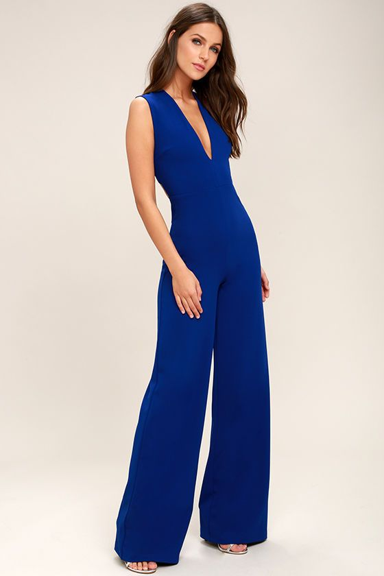 880eecf0a2 Your admirers will have a lot to say about their love for you in the  Thinking Out Loud Royal Blue Backless Jumpsuit! Medium-weight knit is  formed to a ...