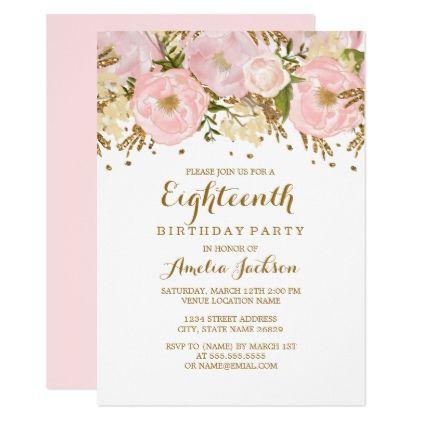 Pretty Blush Pink Gold Floral 18th Birthday Invitation Birthday