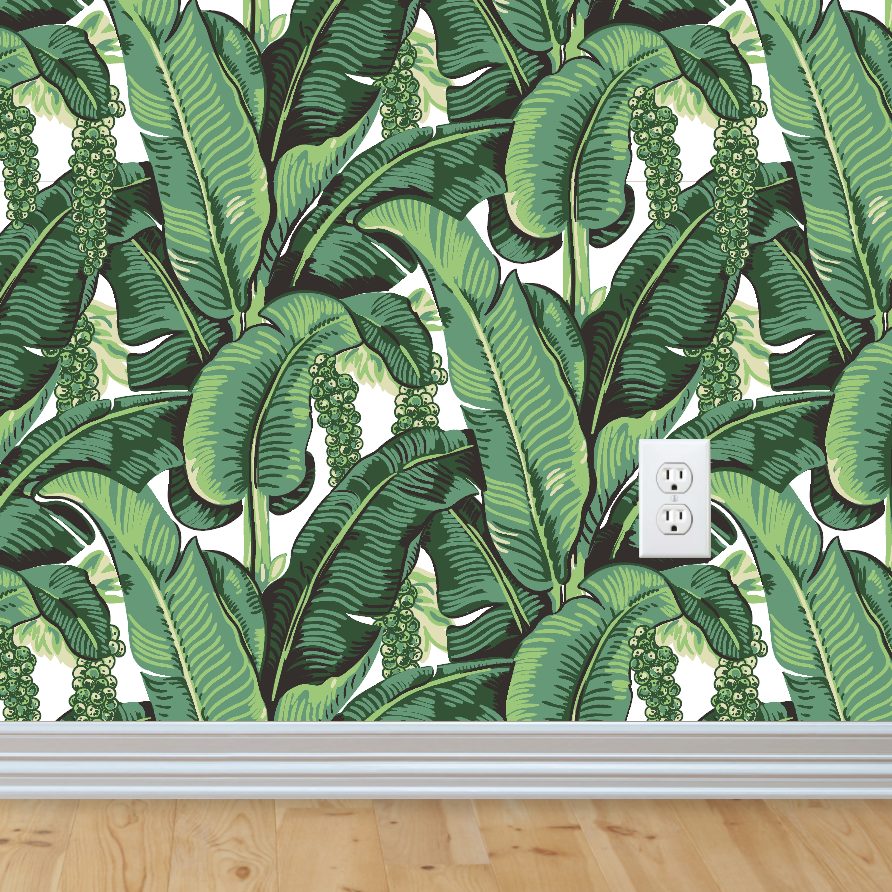 Banana Leaf Wallpaper Leaves Drawing Tropical Wall Mural Removable