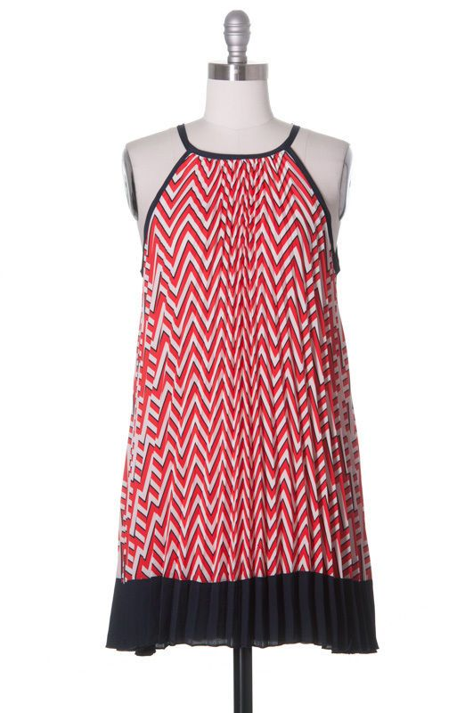 Tonight's Hostess Dress, Modcloth Style, Cocktail, Blue, Red, Tent, Chevron #ModClothStyle #Tent #Cocktail