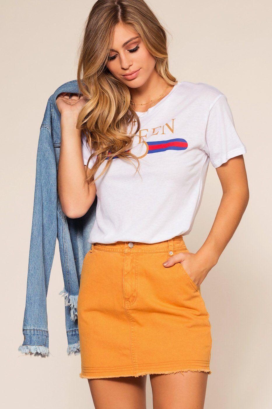 953b3b0e98 Honey Bell Denim Skirt - Mustard   New In Style   Denim skirt ...
