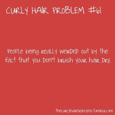 Sooo Funny But True O I Only Comb My Hair When It S Wet Once It S Dry Forget It Not Onl Curly Hair Problems Curly Girl Problems Curly Hair Styles