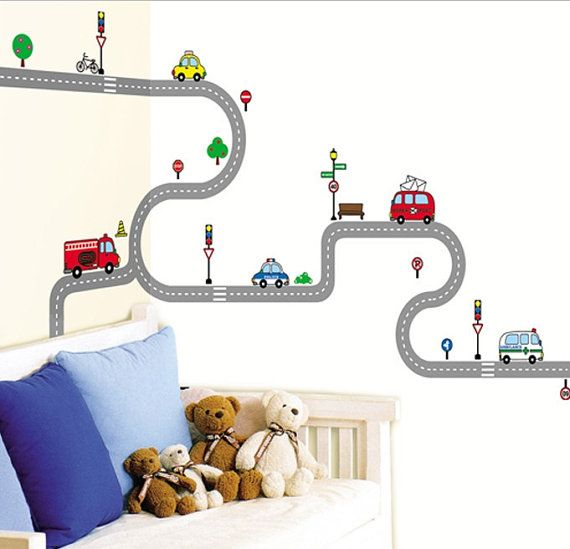 Kids Wall Decal Deco Point Sticker Race Track Wall Decal Sticker Car And Road Street Sticker Kid Room Decor Boys Room Decor Large Wall Stickers