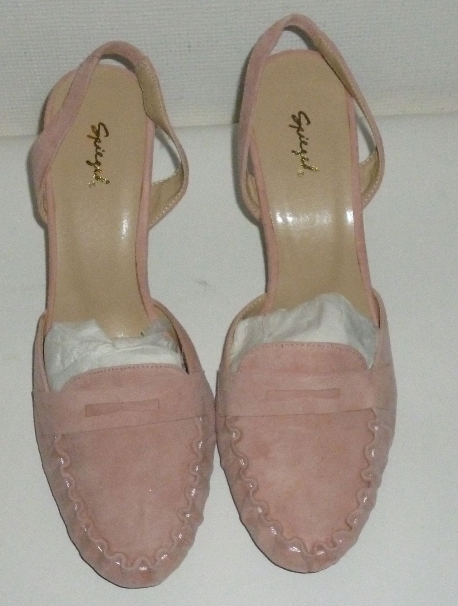 Women's Spiegel Pink Moccasin Sling Leather High Heels Shoes SIze 10B