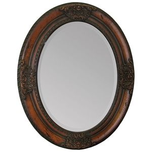 Chelsey Mirror Oval Cherry Finish Wood Frame