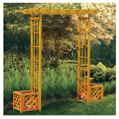 Garden Arbor With Flower Boxes, Pergola Top, Wood, 59.4 x 15.7 x 90.5-In.: Model# L-AB024PWD-4 | True Value
