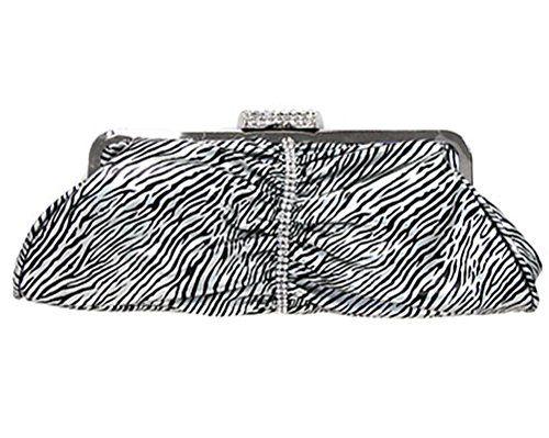 V g s eternity fashions zebra print evening clutch handbag w detachable strap silver black color