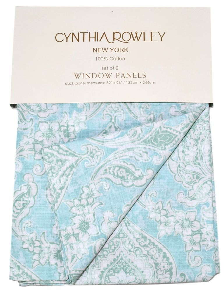 Cynthia Rowley Medallions Window Curtain Panels Set Of 2 Drapes Pair Turquoise Panel Curtains Window Curtains Window Panels