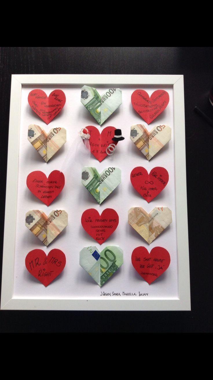 Geldgeschenk plus ein paar nette persönliche Worte für die Hochzeit – Cadeau ideeën