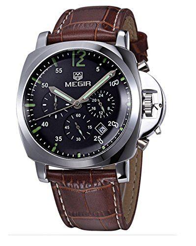 Hombres Megir De Lujo Del Cuero Genuino Reloj De Pulsera Cronografo Relojes De Lujo Para Hombres Relojes De Cuero Para Hombres Reloj De Pulsera