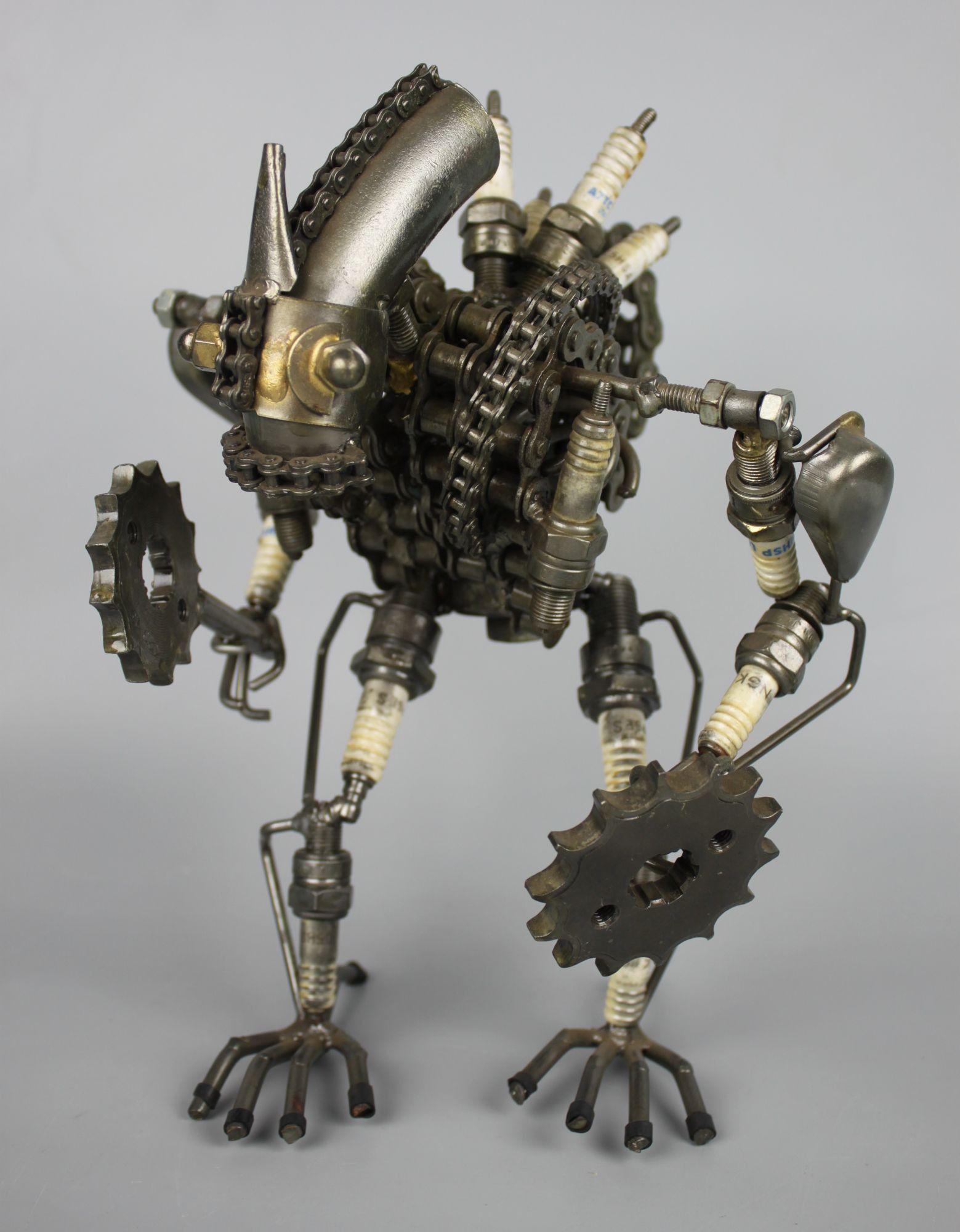 Scrap metal sculpture model recycled handmade art robot