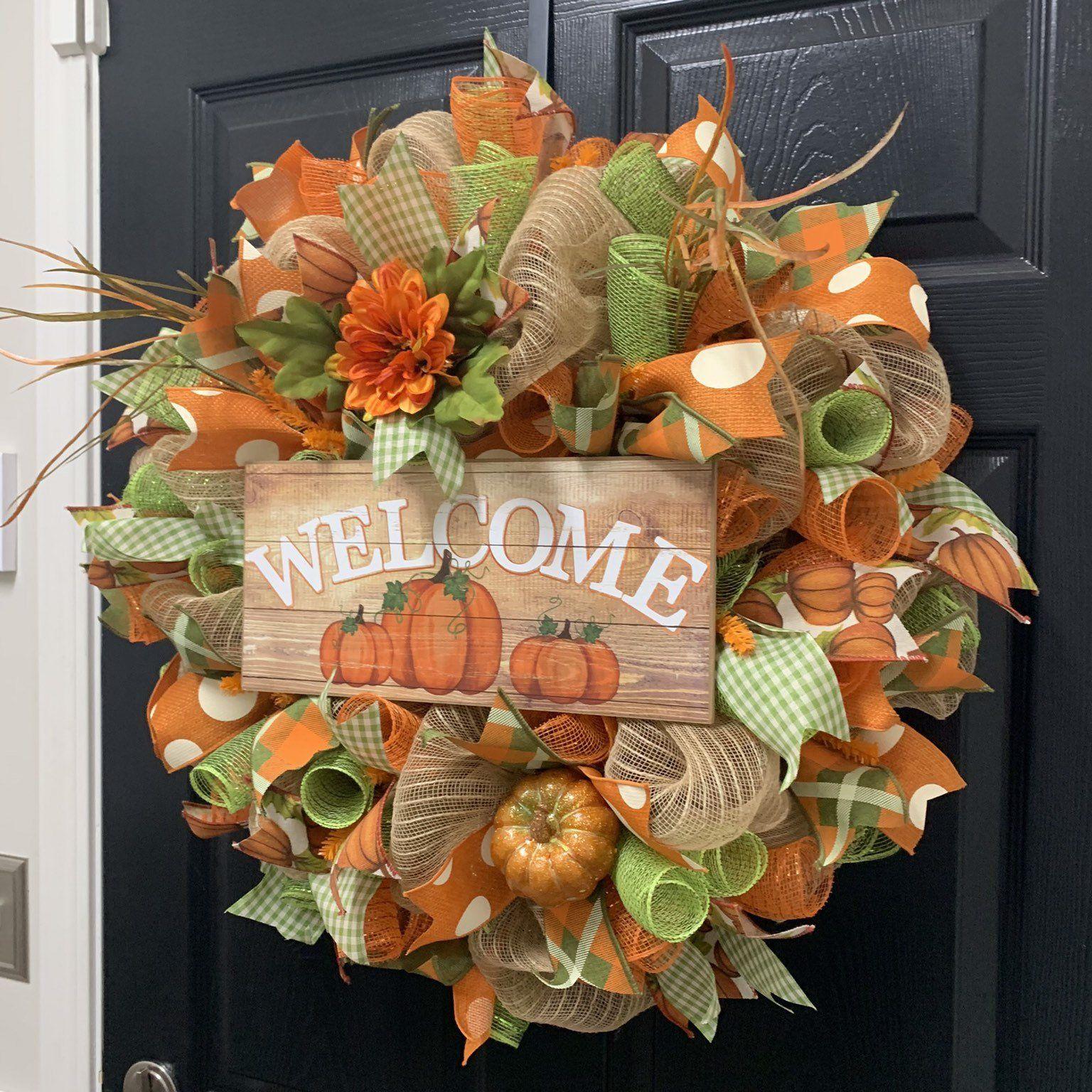 Photo of Pumpkin wreath, fall wreath, autumn wreath, Pumpkin welcome wreath, welcome wreath, fall decor,