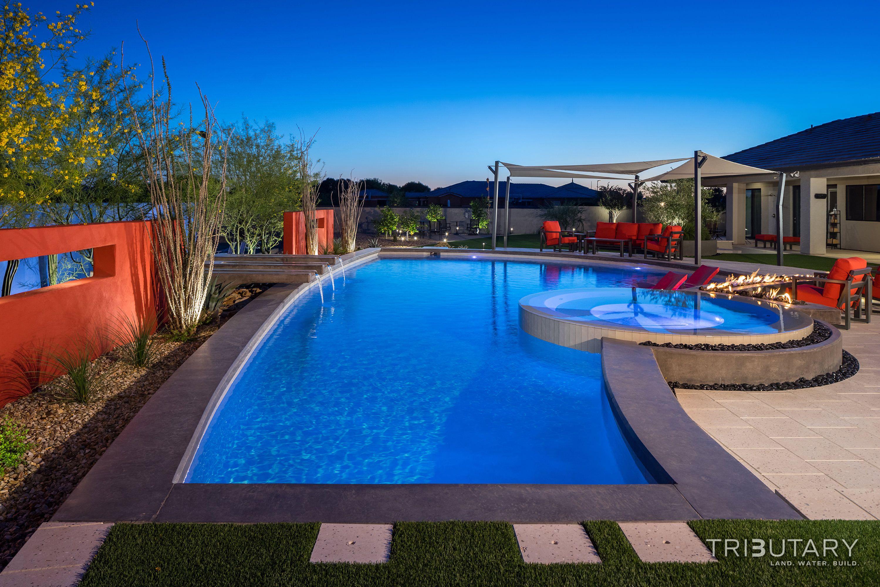 Tributary Pools Custom Pool Sleek Oasis Gilbert Diy Network Pool Kings Gilbert Arizona Paradise Luxury Pool Jeromey Naugle Watersh Custom Pools Pool Kings Pool