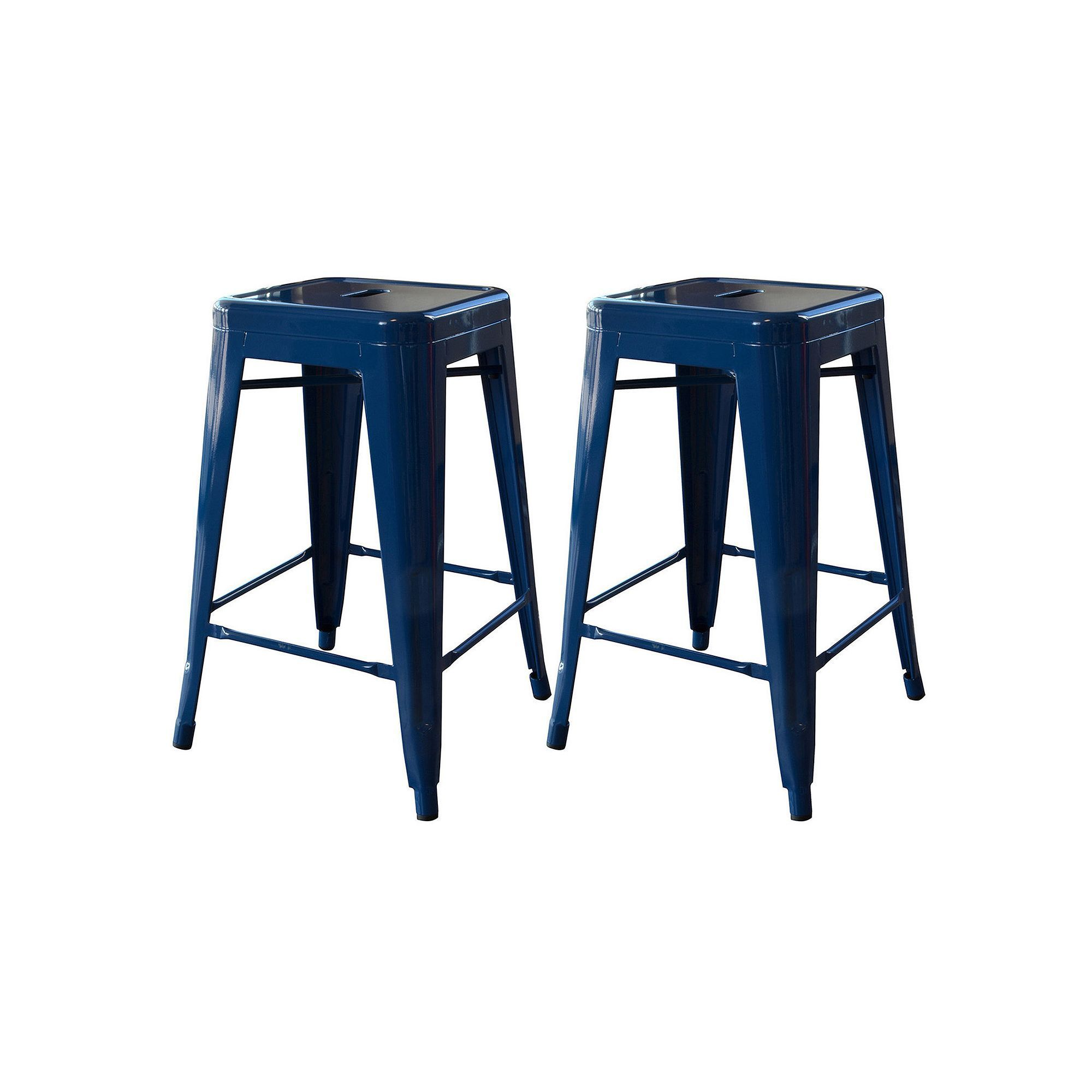 Amerihome 2 Piece Loft 24 In Metal Counter Stool Set Blue