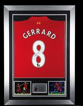 0d80f2cc4 Hand Signed Steven Gerrard Liverpool FC NEW 2013 Framed Jersey Shirt + COA  Memorabilia