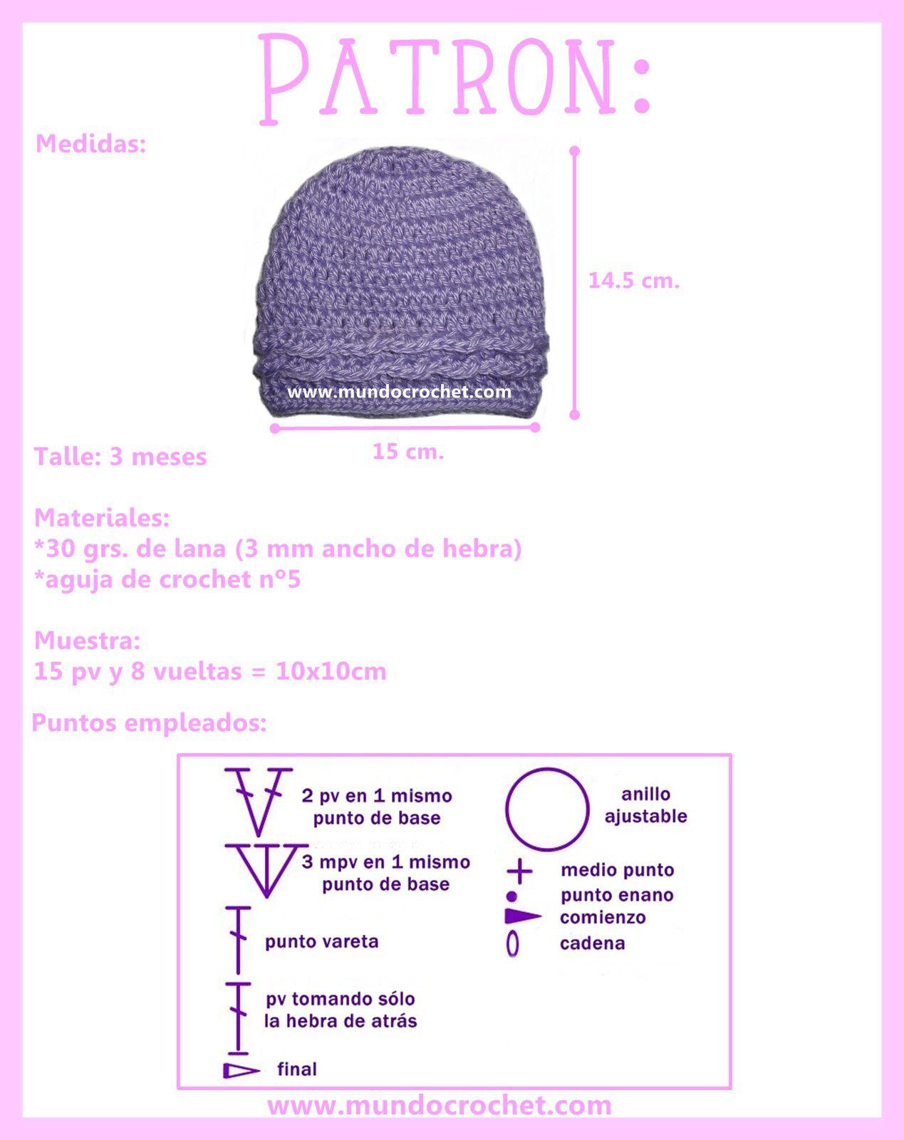 Gorro simple para bebé a crochet | Crochet | Pinterest | Crochet