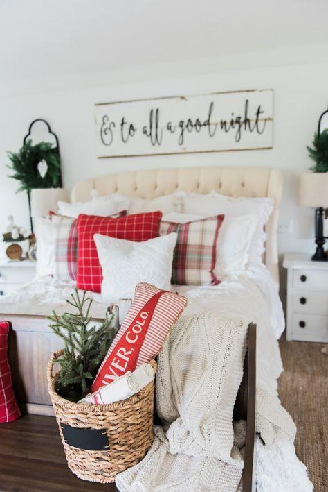 A Cozy Cheerful Farmhouse Christmas Bedroom Home Decor