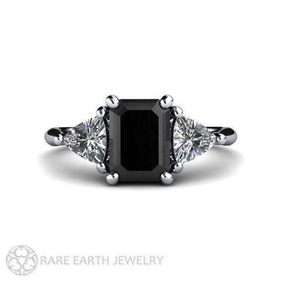 An Absolutely Stunning Vintage Inspired Black Diamond Three Stone