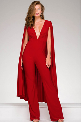 633ef566e13 Jovani - 46031A Plunging V- Neck Jumpsuit with Cape In Red