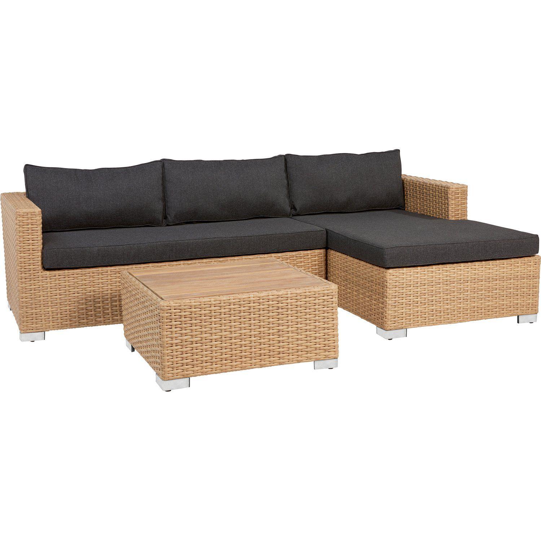 Lounge Set Studley 3 Teilig Aus Polyrattan Ausfuhrung Rechts Taupe Polyrattan Gartenmobel Lounge Gartenmobel Mobel