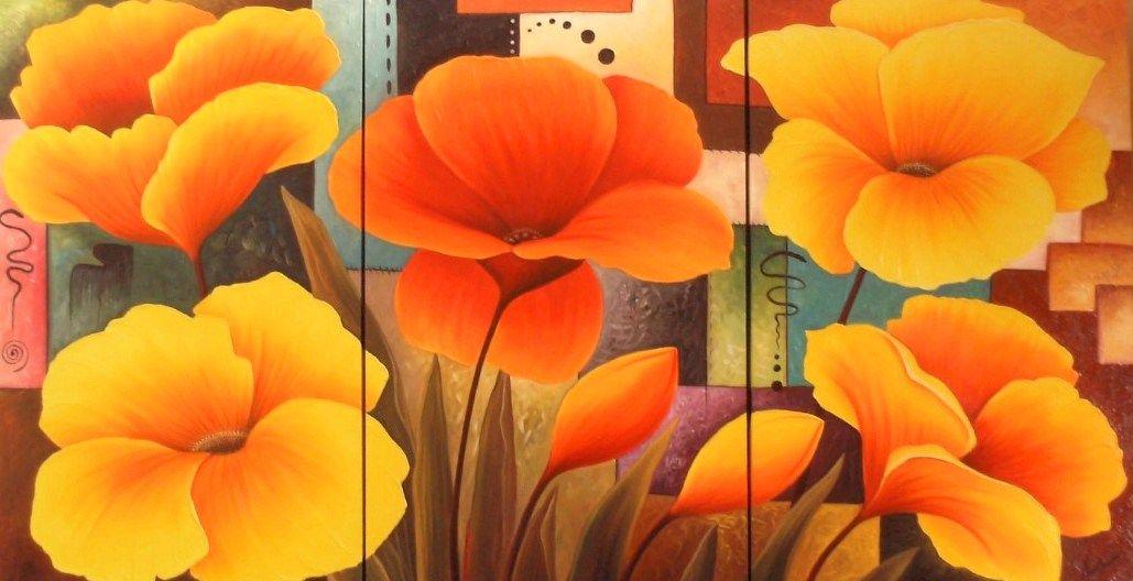 cuadros trpticos de flores modernas bodegones y paisajes