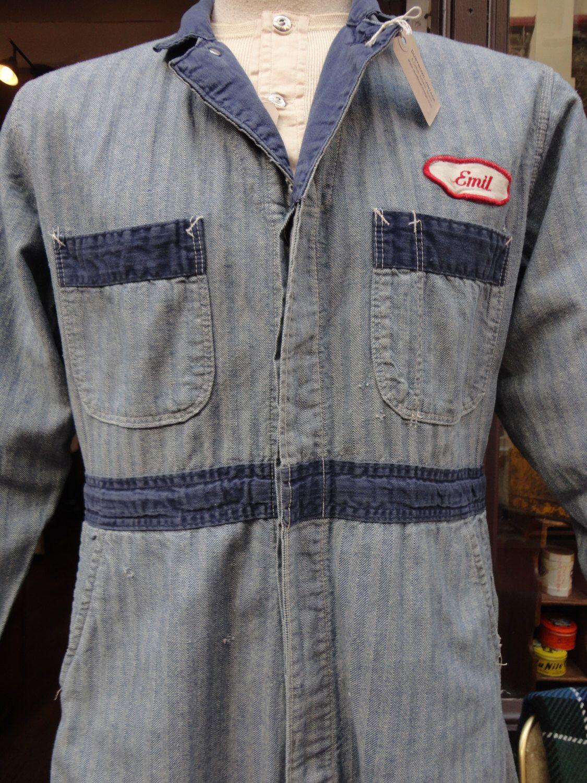 Vintage 1960s Denim Hickory Stripe Herringbone Hbt Overalls Coveralls Mechanic Rockabilly Hidden Donut Buttons Workwear Mechanic Coveralls Work Wear Coveralls