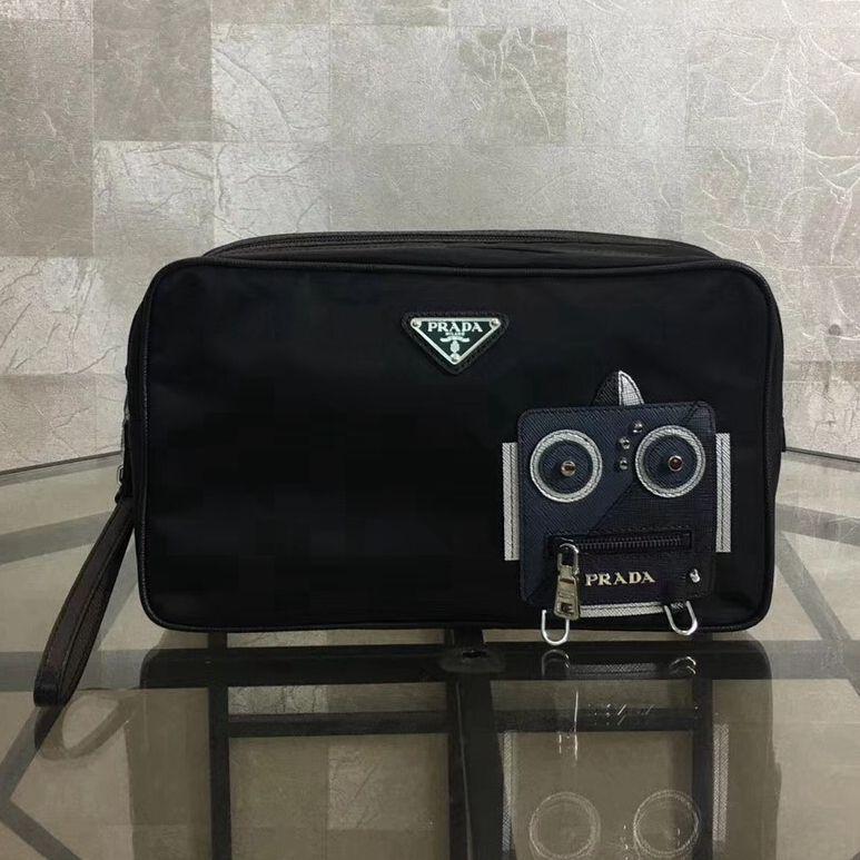 7c756e54766b Prada Nylon and Saffiano Leather Cosmetic Pouch 2NE011 Navy/Black 2018