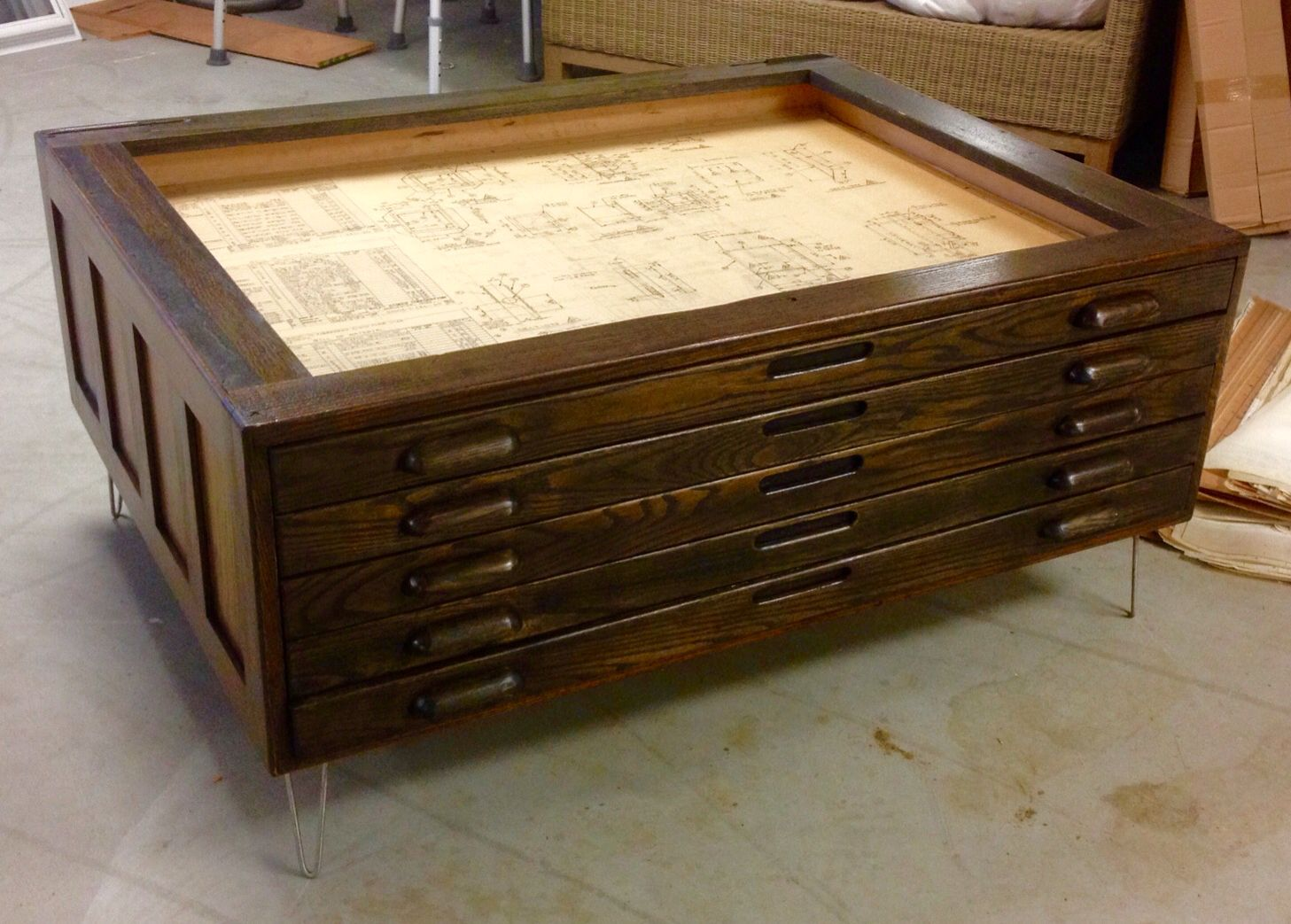 Repurposed Vintage Hamilton Flat Map Or Blueprint File Cabinet