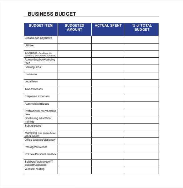 Business Budget Templates 15+ Printable Excel, Word  PDF