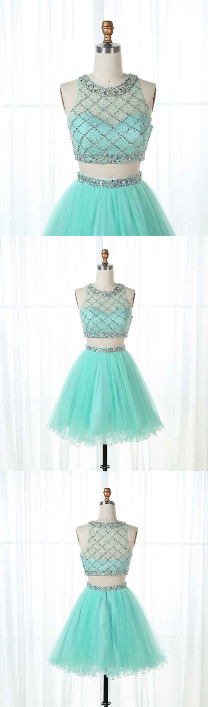 Two Piece Round Neck Mint Green Tulle Short Homecoming Dress with ... 45650fab6