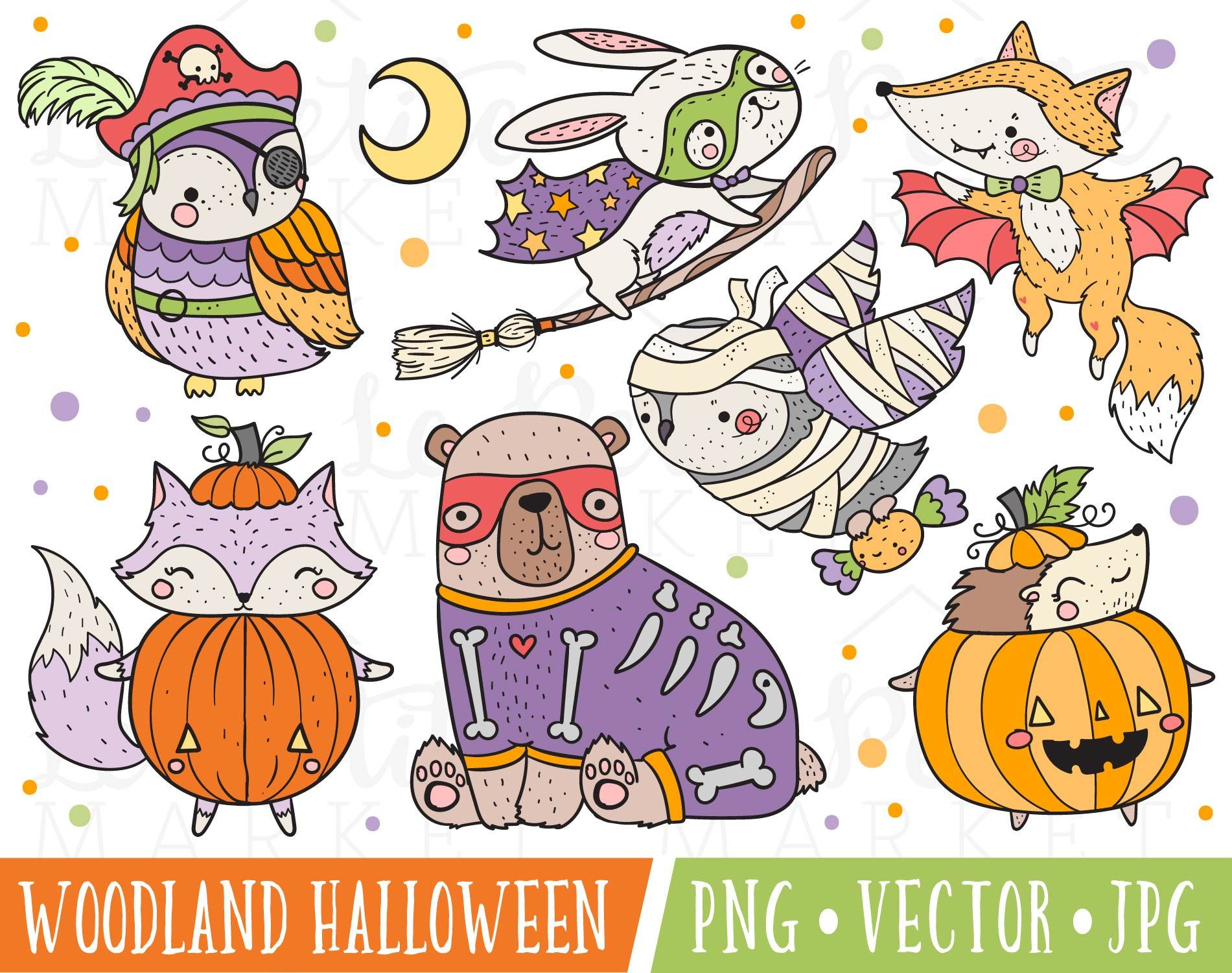 Cute Halloween Costume Party Clipart Images, Animals in