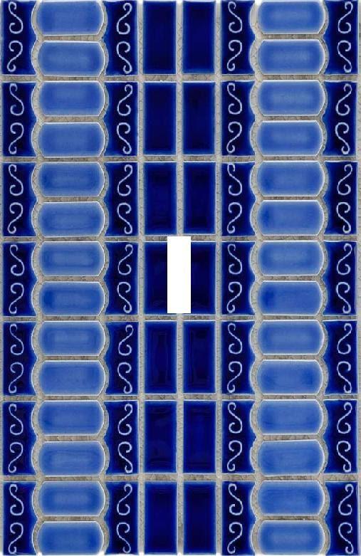 Drak blue Tile light switch plate travel by SindyOriginalDecor