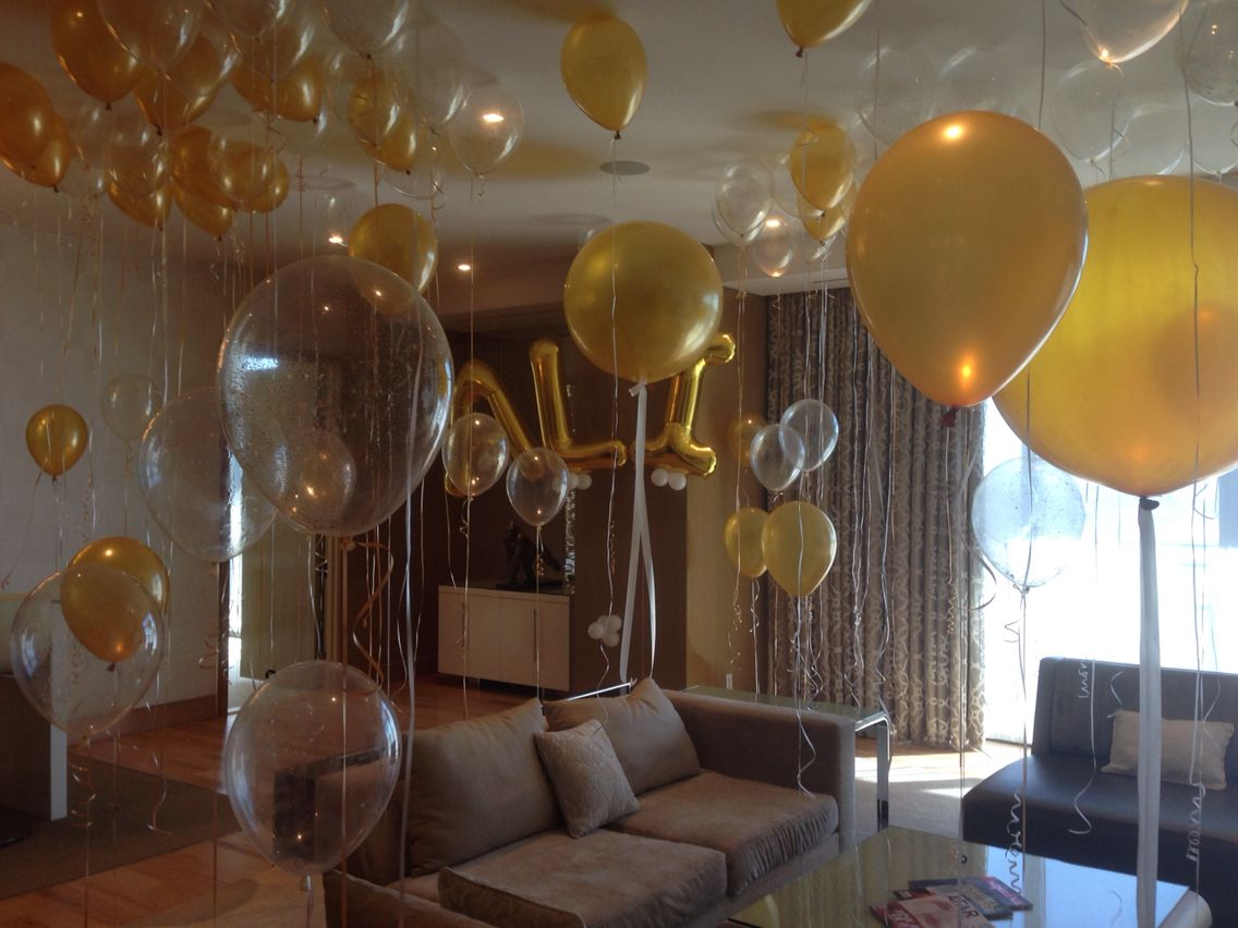 Hotel room full of balloons for 21st birthday party for Room decor ideas for husband birthday