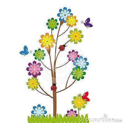 Dibujos Animados De Arboles Y Flores Buscar Con Google Flores Animadas Flores Ilustraciones De Flores