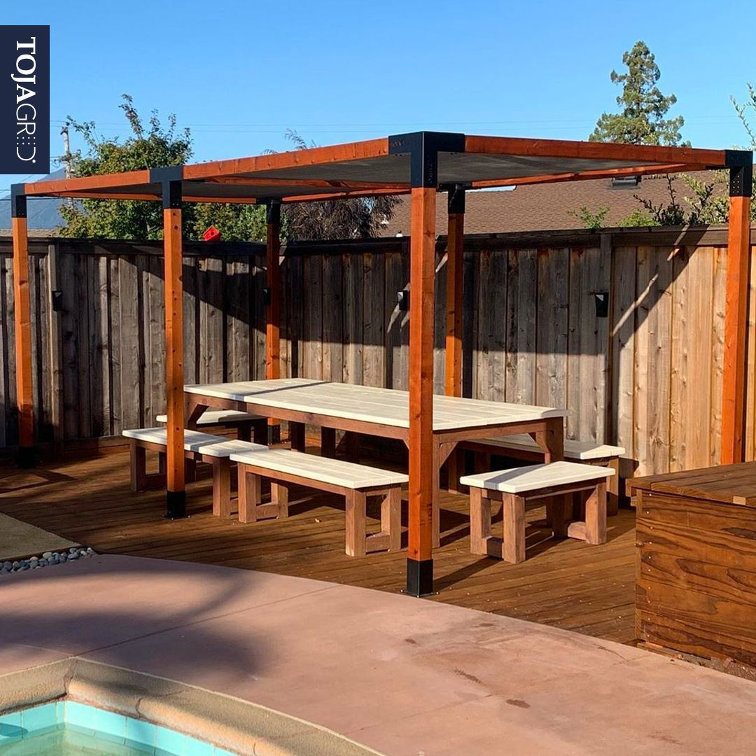 Double Pergola Kit With 2 Shade Sails For 4x4 Wood Posts Pergola Backyard Buildings Shade Sail