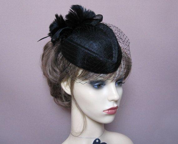 a2dd6ecc537 black pillbox hat fascinator birdcage veil wedding funerals ascot races evening  cocktail formal hat