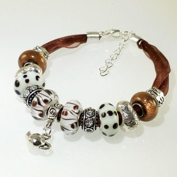 European Charm Bracelet Handmade Brown Teapot by BekisBeads