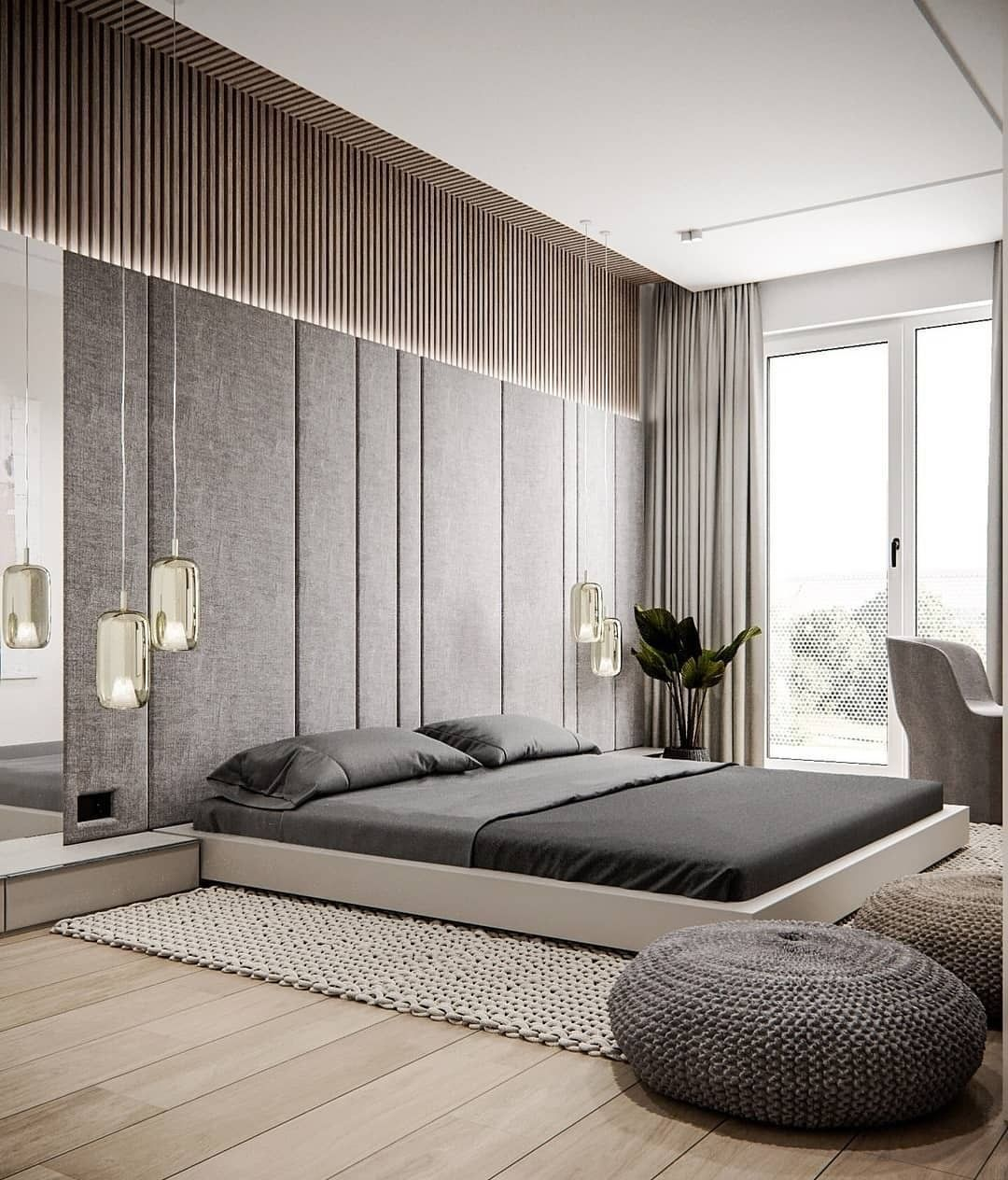 Like Platform Bed Pendant Lighting This Style The Most Prefer White Bed Linens In Genera Modern Master Bedroom Design Bedroom Design Modern Master Bedroom