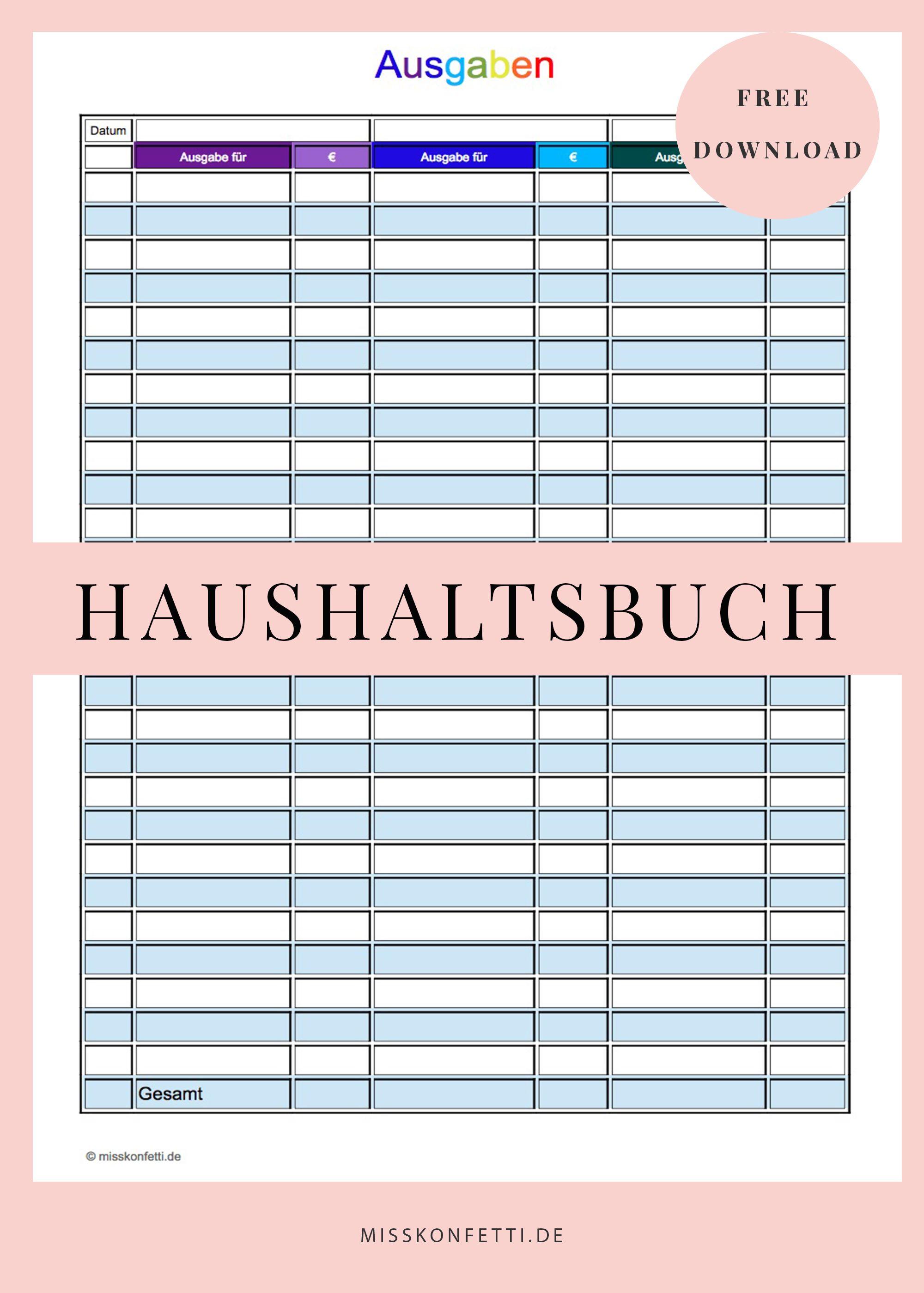 Finanzen im Griff mit dem Haushaltsbuch | Haushaltsbuch, Konfetti ...