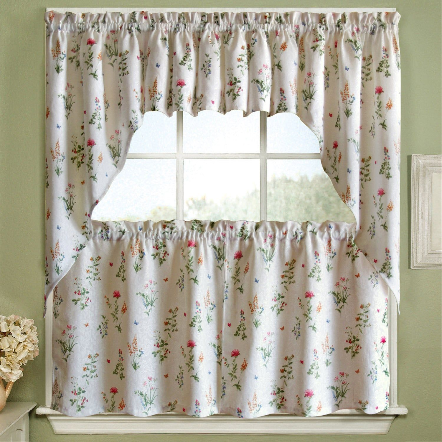 24 Inch Kitchen Curtains Vibrant Floral Garden Motif Jacquard Window Curtain Pieces In 2019