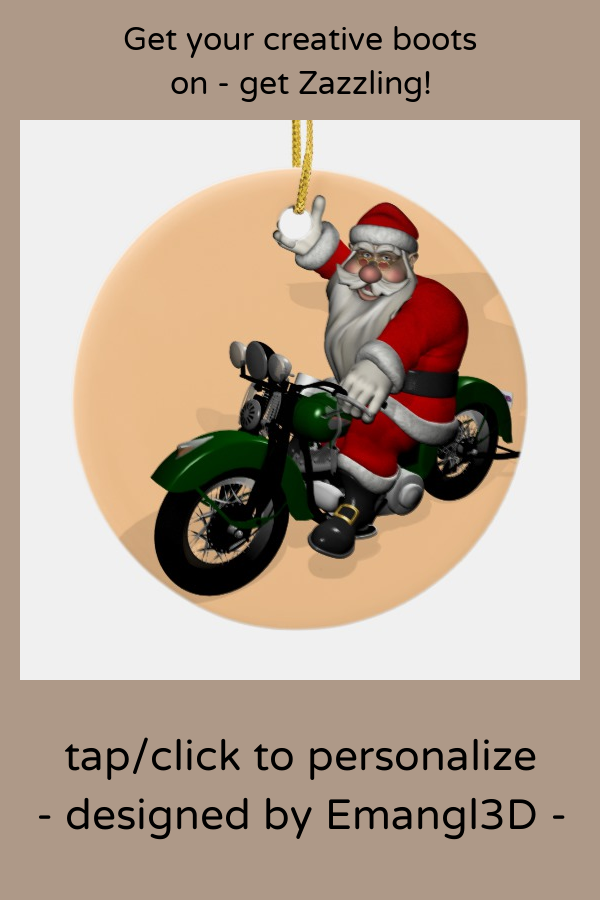 Funny Santa Claus On Green Vintage Motorbike Ceramic Ornament Zazzle Com Funny Santa Claus Ceramic Ornaments Santa Funny