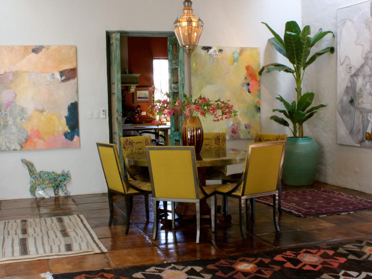 This bright and eclectic dining room is based on Spanish ...