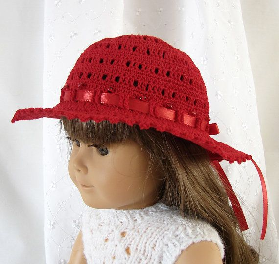 18 inch Doll Hat in Red Crocheted Summer Doll Hat by FocusonColor