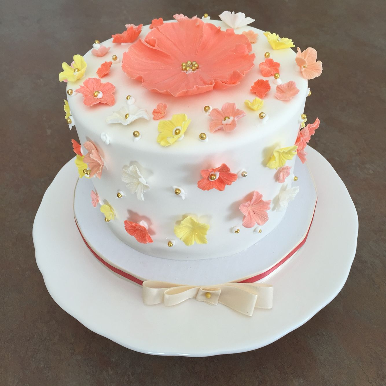 Fine Design Your Own Birthday Cake White Cake With Coral Pink Yellow Funny Birthday Cards Online Inifodamsfinfo